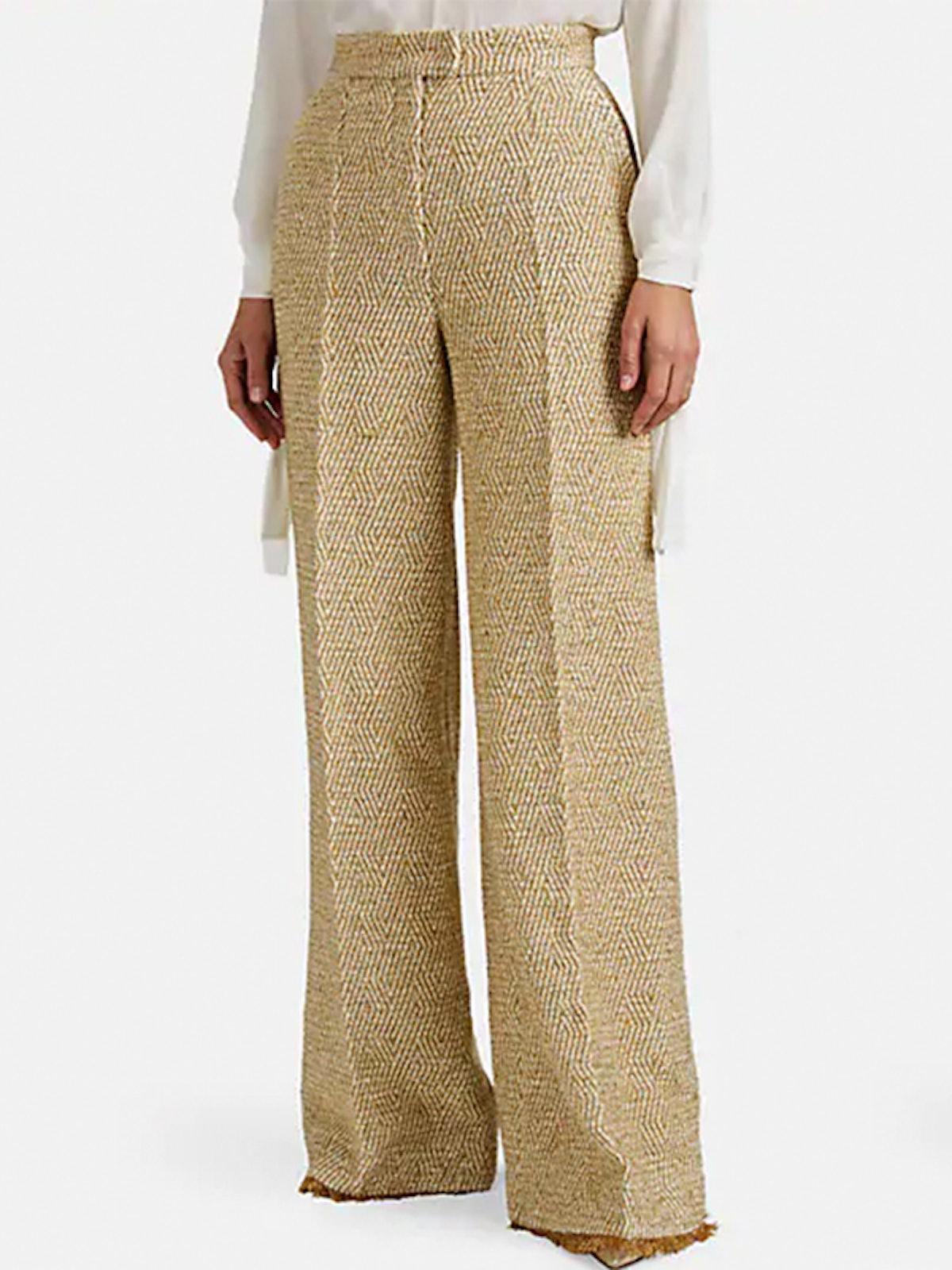 Metallic Wool-Blend Tweed Wide-Leg Trousers