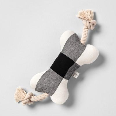 Pet Holiday Plaid Toy Rope - Black/White