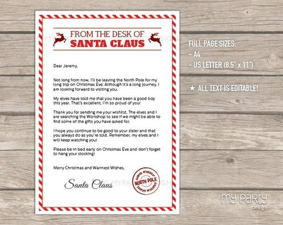 Letter from Santa with Envelope