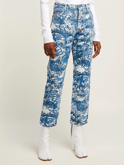 Tapestry-Print Cropped Jeans