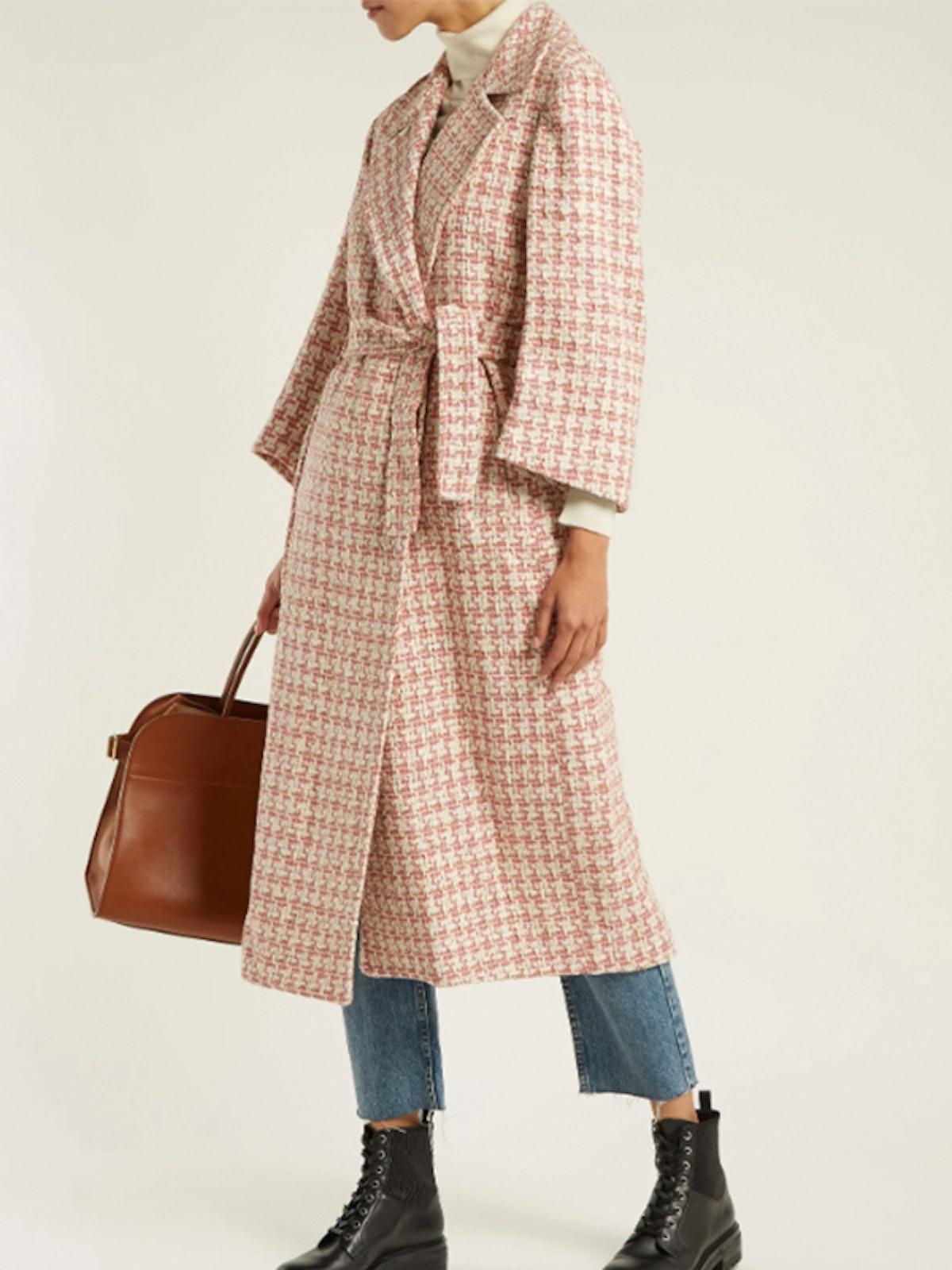 Linda Tie-Waist Tweed Coat