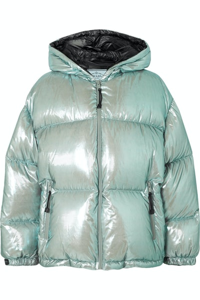 Oversized Quilted Metallic Shell Down Jacket
