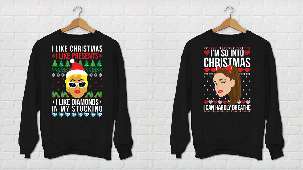 These Ariana Grande Cardi B Ugly Holiday Sweaters Will Make You