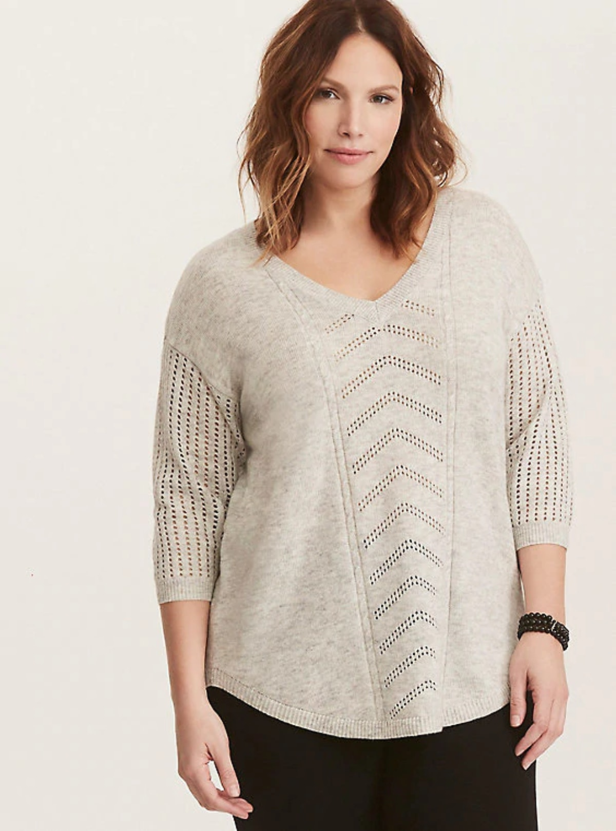 IVORY POINTELLE TUNIC SWEATER