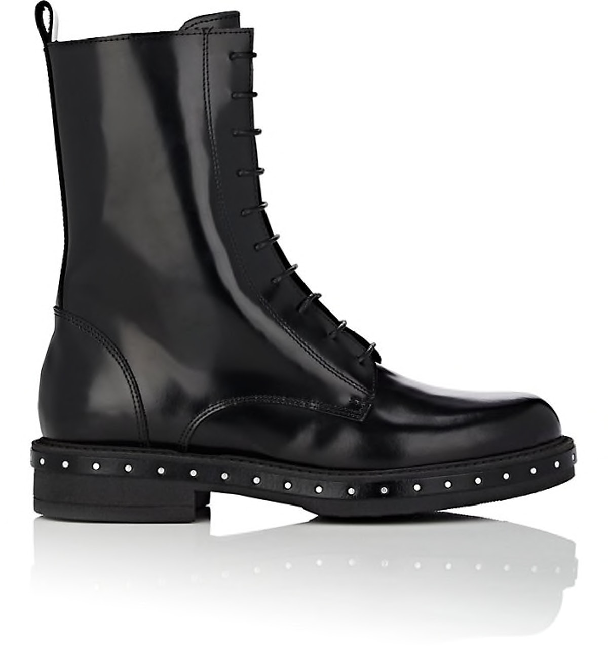 Stud-Detailed Spazzalato Leather Combat Boots