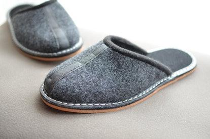 Grey Felt Slippers