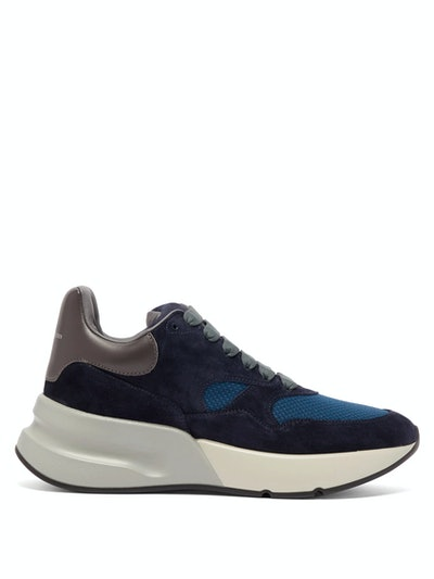 Runner Raised-Sole Low-Top Suede And Mesh Trainers