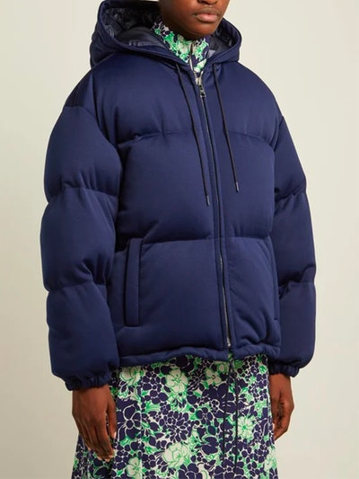 Down-Quilted Technical-Jersey Hooded Jacket