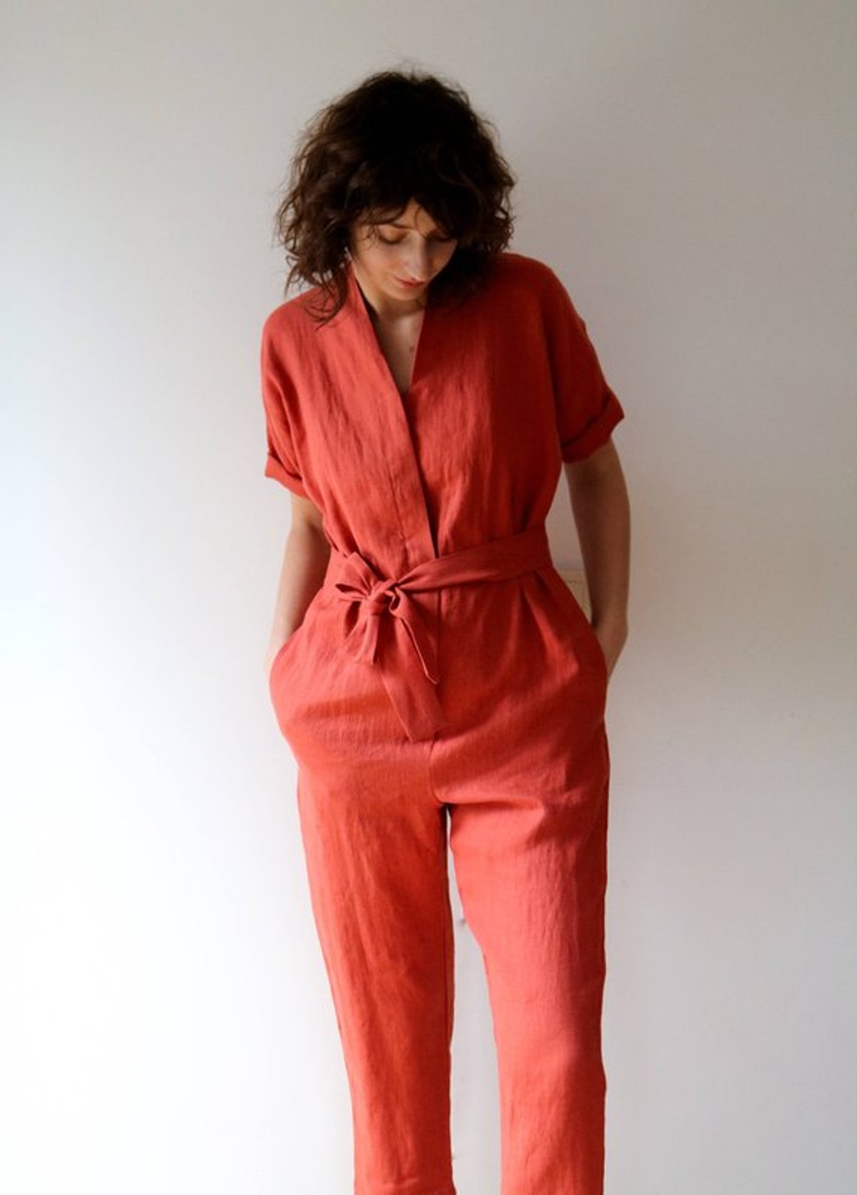 Burnt Orange Linen Kimono Jumpsuit