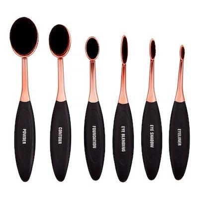 Premium Oval Makeup Brush Set, 6 Pieces