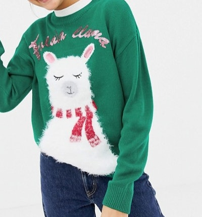 Llama Print Christmas Sweater