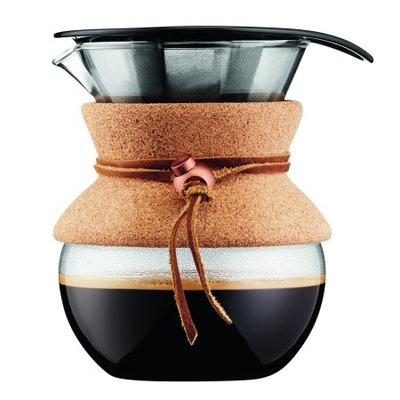 Bodum POUR OVER Coffee Maker with Permanent Filter, Cork Band, 0.5 L, 17 Oz, 4 Cups