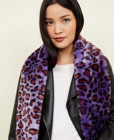 Purple Leopard Print Faux Fur Stole Scarf