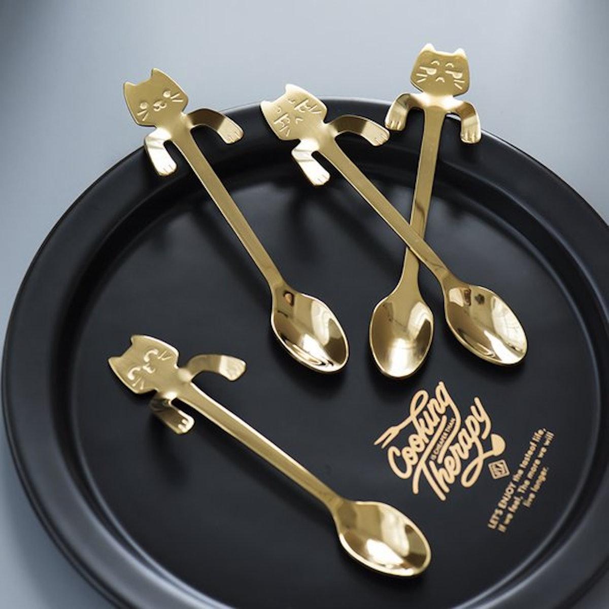 Set of 4 Cat Coffee Spoons