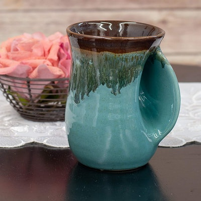Made in Oregon Clay in Motion Ocean Tide Handwarmer Mug