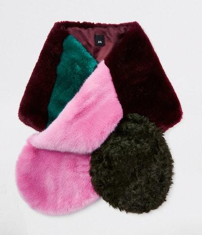 Pink Faux Fur Colour Block Scarf