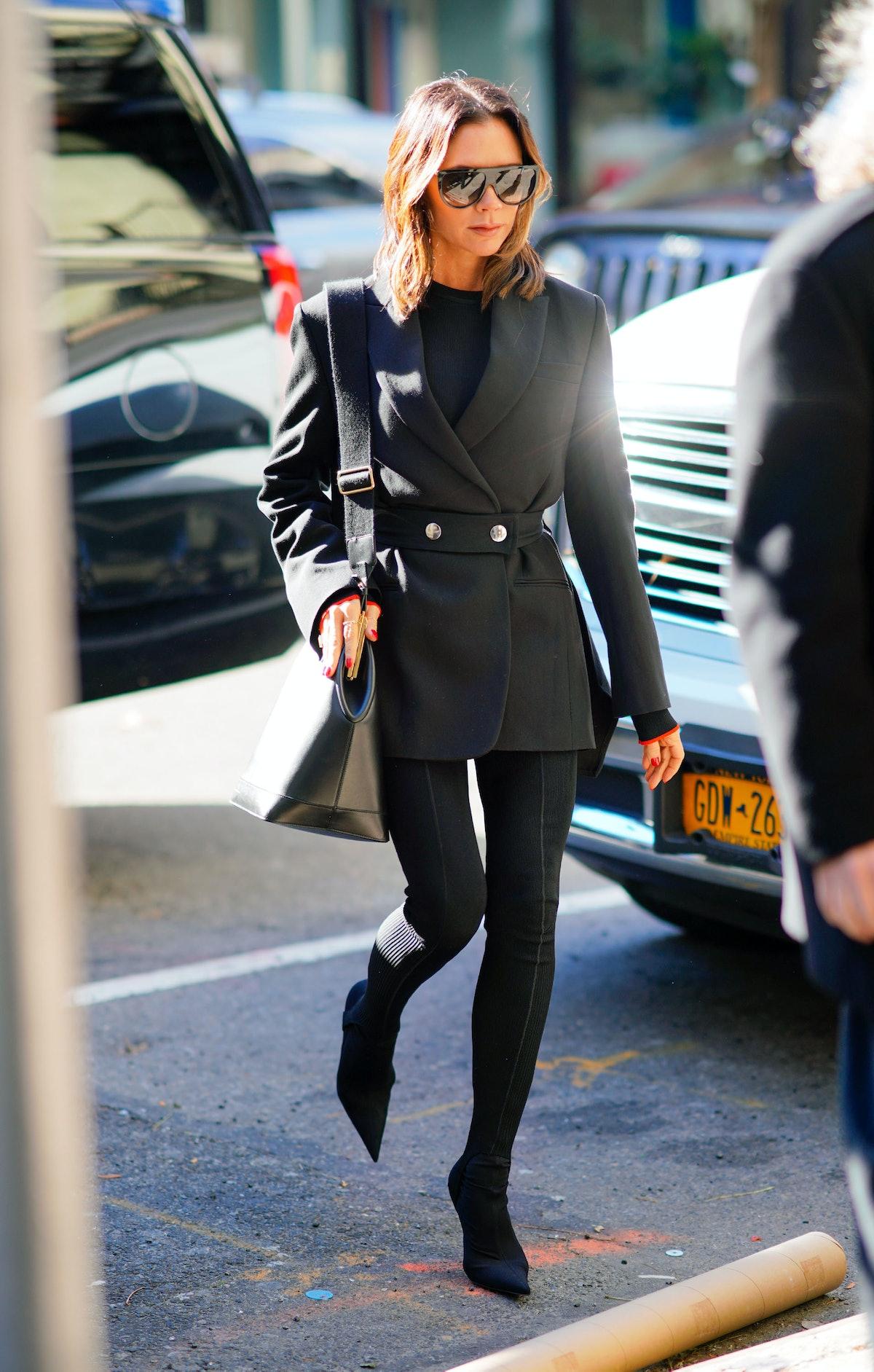 Victoria Beckham wearing a black blazer.