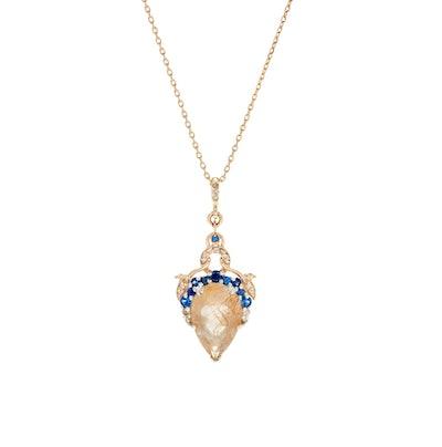 Celestine Pear Necklace Yellow Gold, Golden Rutliated Quartz, Sapphire & Champagne Diamonds