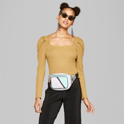 Women's Long Puff Sleeve Square-Neck Top - Wild Fable™ Yellow