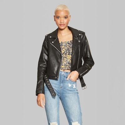 Women's Faux Leather Moto Jacket - Wild Fable™ Black