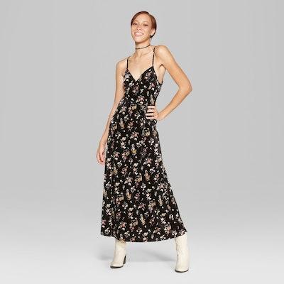 Women's Floral Print Strappy Wrap Velvet Maxi Dress - Wild Fable™ Black