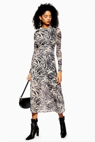 Zebra Print Mesh Midi Dress