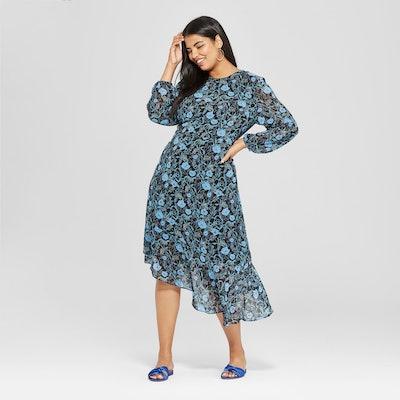 Plus Size Long Sleeve Waterfall Hem Dress