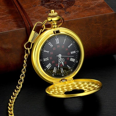 Vintage Roman Numerals Quartz Pocket Watch