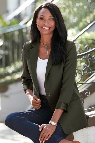 Long Length Boyfriend Blazer In Olive Green