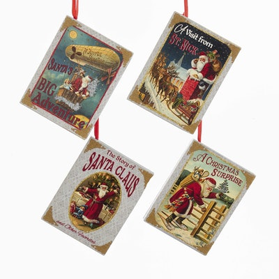 Vintage Inspired Santa Book Christmas Ornament