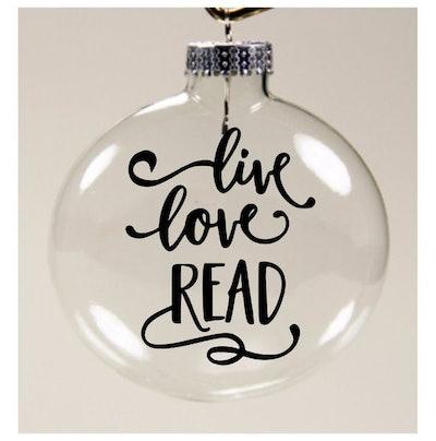 Live Love Read Glass Ornament