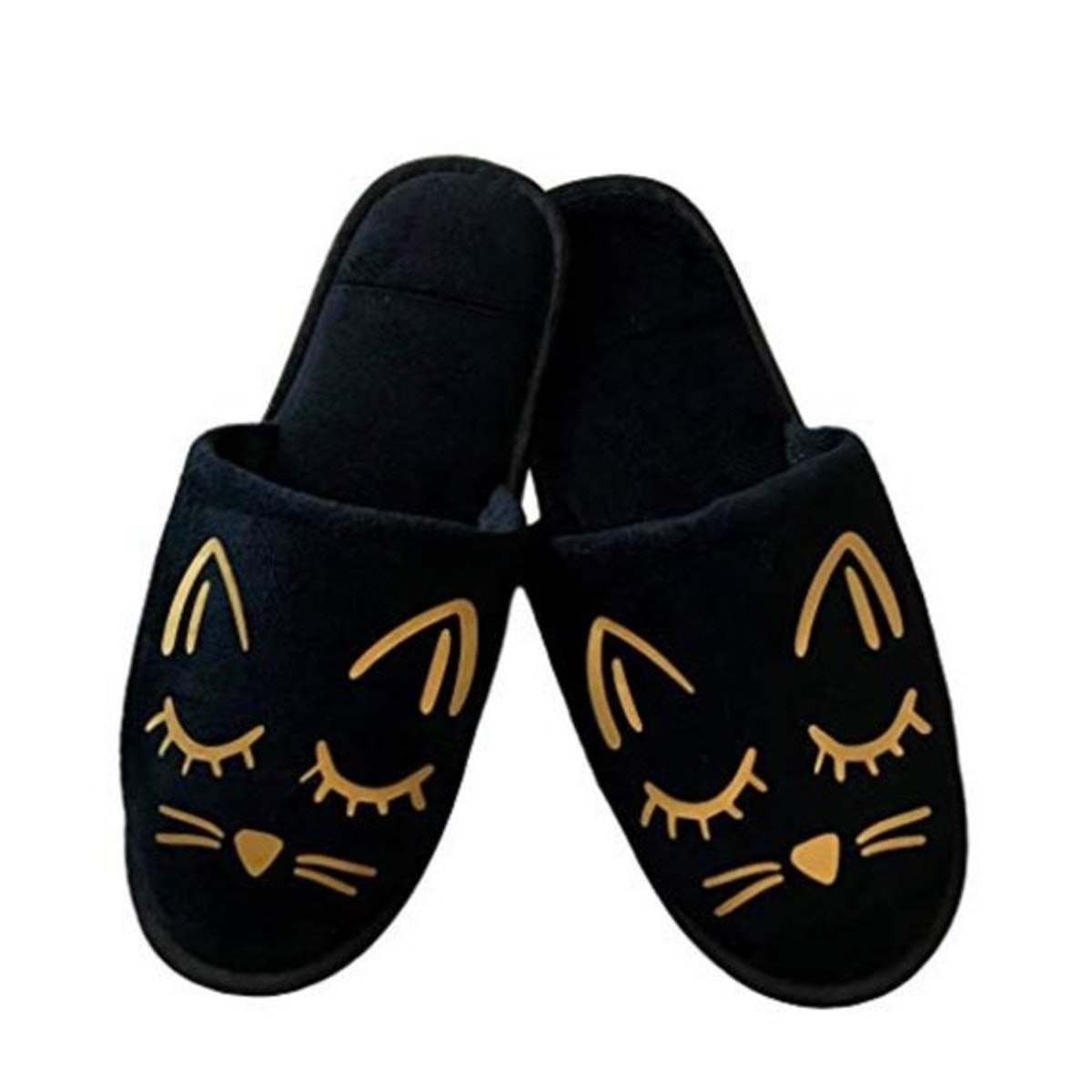 Cozy Cat Slippers - Black and Gold