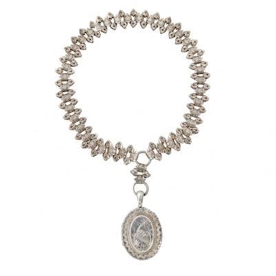 Silver Locket Collar Necklace