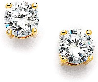 Amazon Essentials Plated Cubic Zirconia Stud Earrings