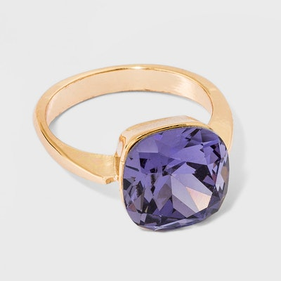 Solitaire Purple Glass Ring