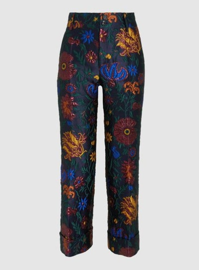 Cropped Floral Brocade Trousers