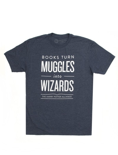 """Books Turn Muggles into Wizards"" T-Shirt"