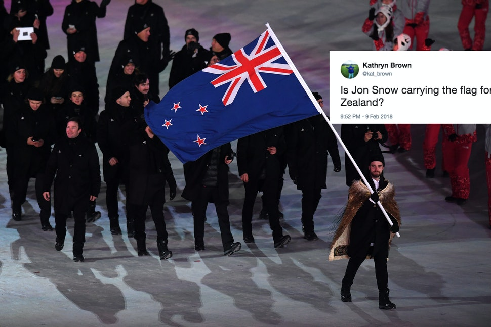 New Zealand Flag Twitter: The Guy Carrying New Zealand's Flag At The 2018 Olympic