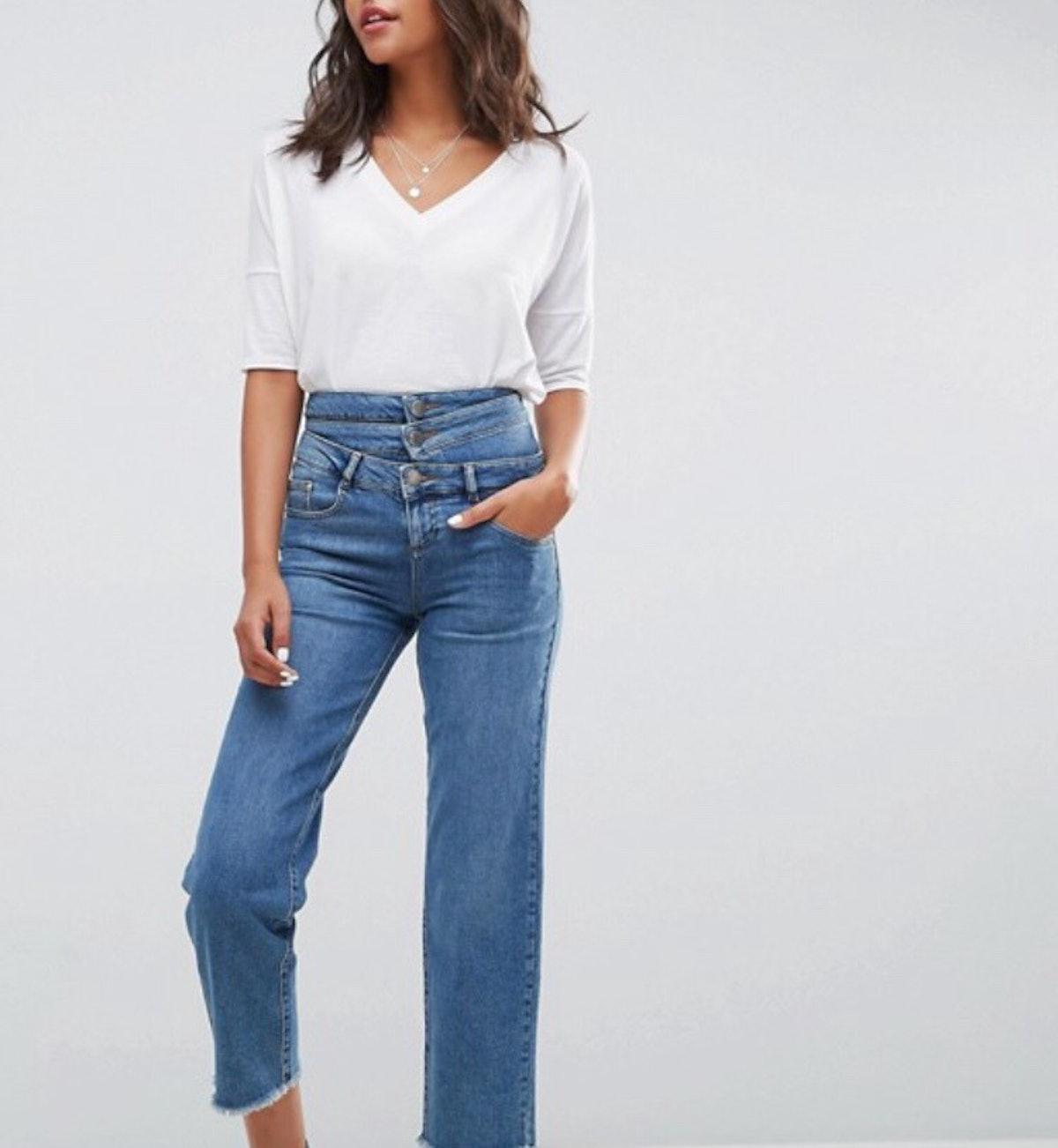ASOS Straight Leg Triple Waistband Jean in Vogue Blue