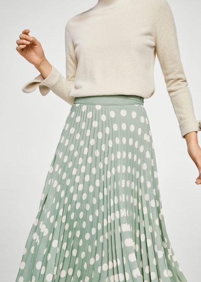 Printed pleated skirt, $79, Mango