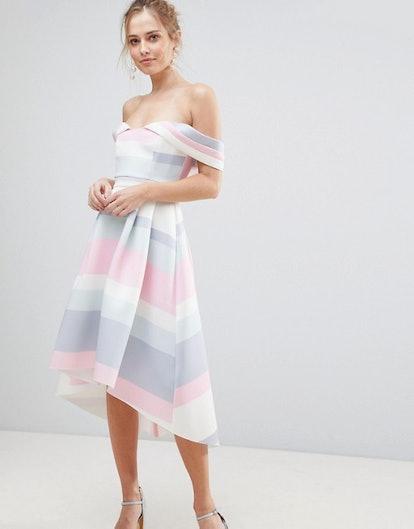 Bardot Cold Shoulder Dip Back Pastel Stripe Prom Dress, $95, ASOS