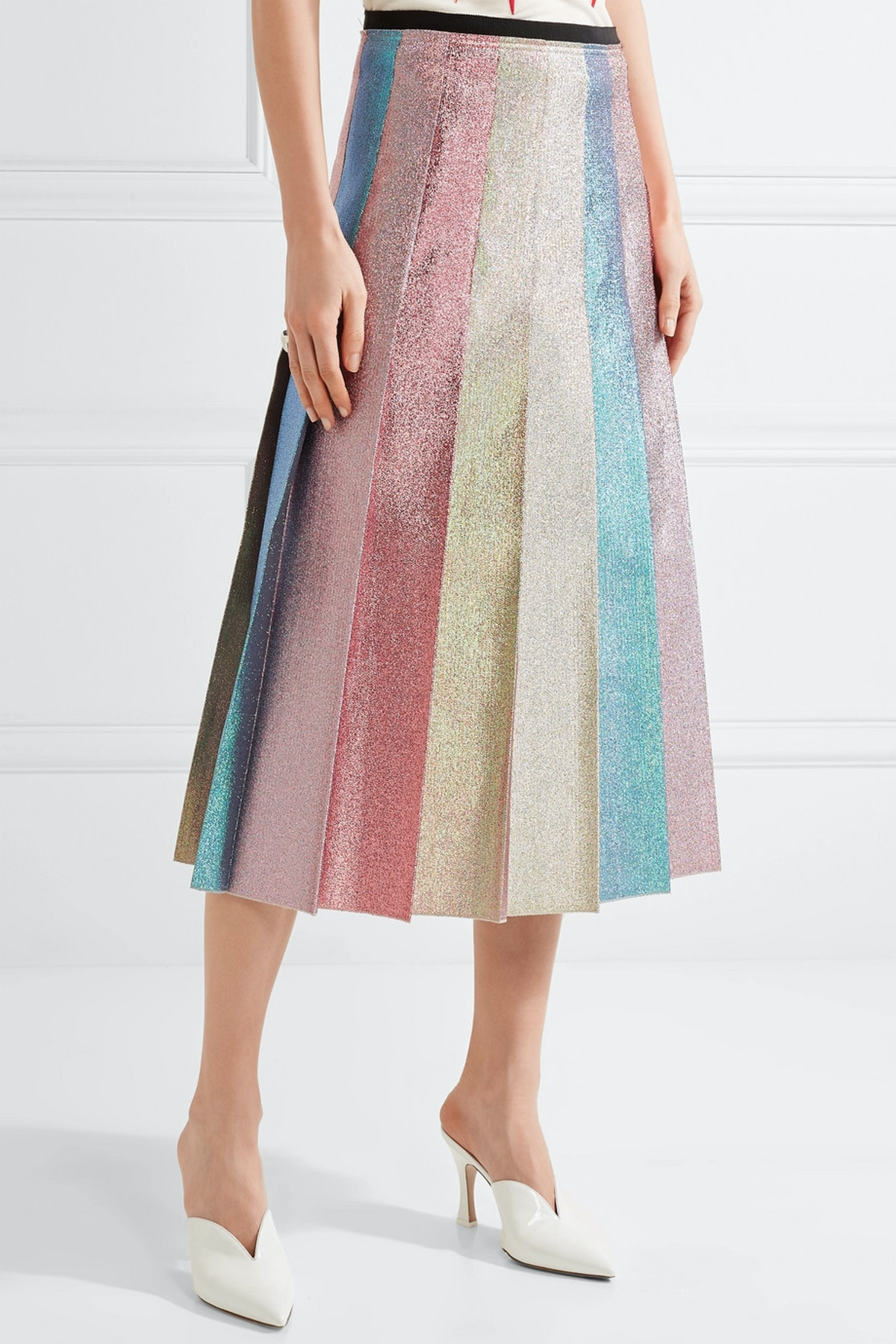 Pleated Lamé Midi Skirt, $1,600, Gucci