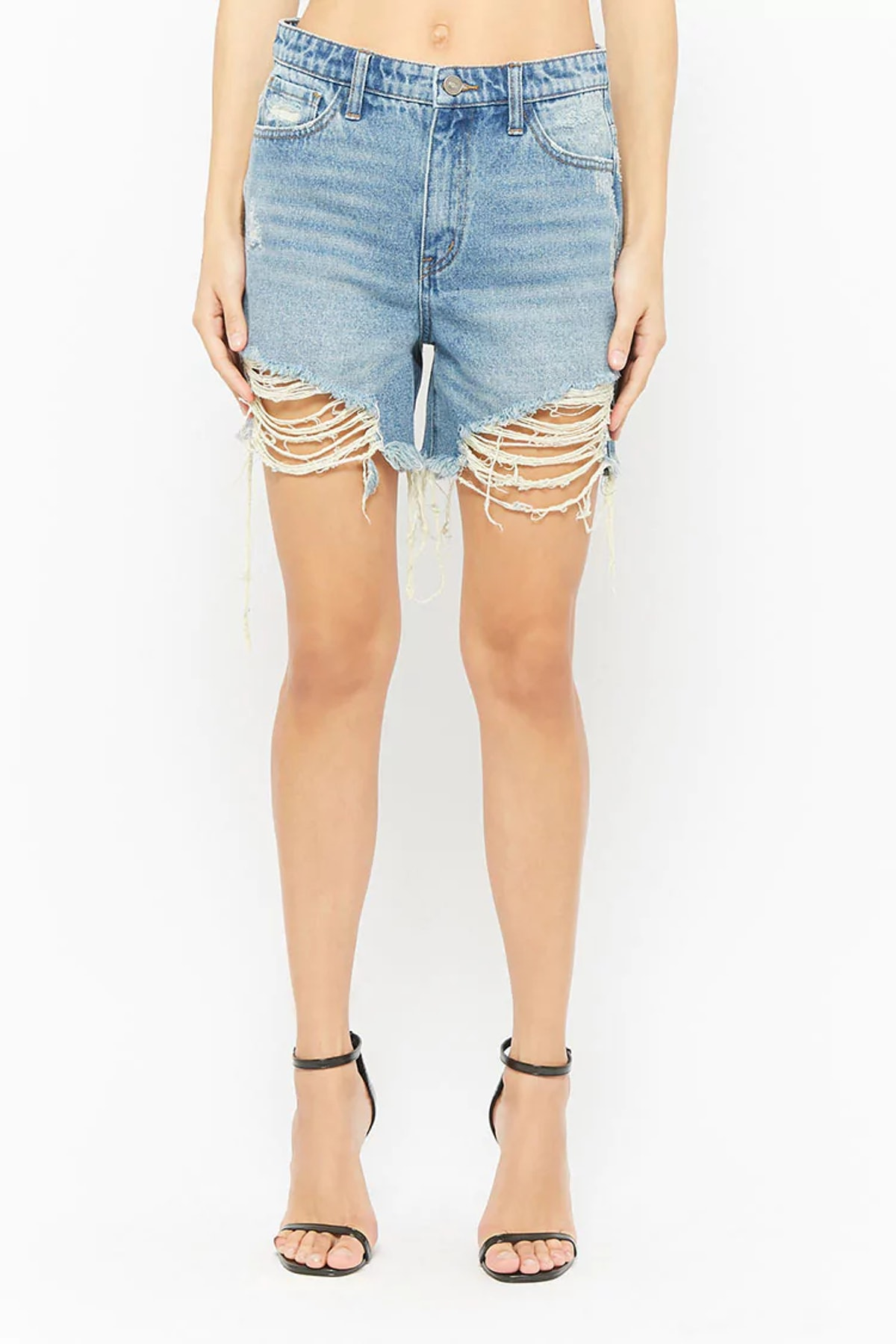 Distressed Acid Wash Denim Shorts
