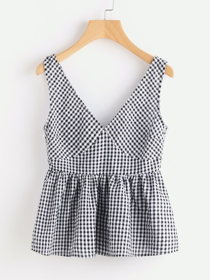 SHEIN Double Plunge Neck Gingham Peplum Shell Top