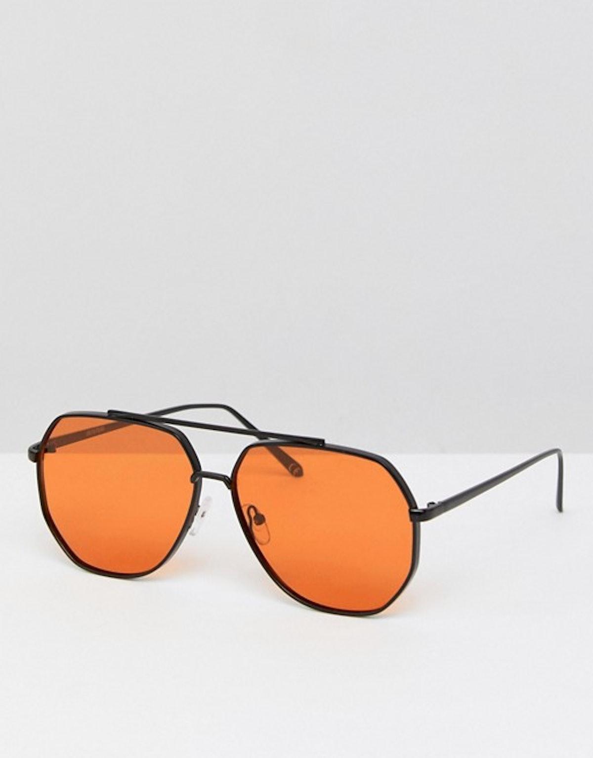 ASOS Black Metal Aviator Fashion Sunglasses With Orange Lens