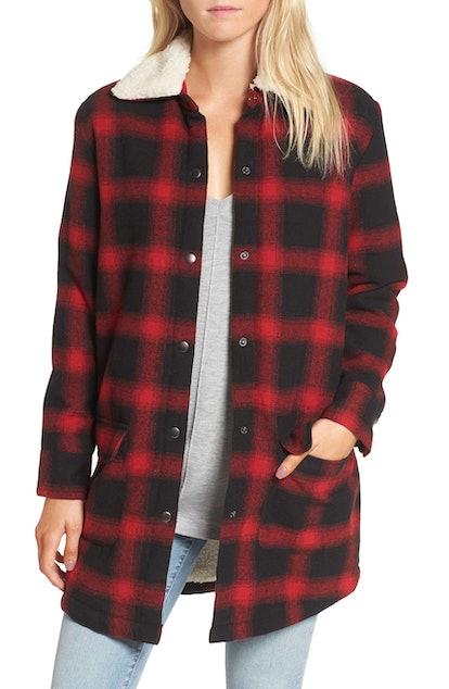 BB Dakota Bradley Fleece Lined Plaid Coat