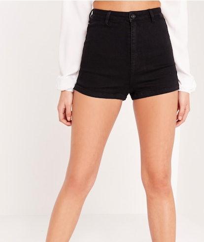 Vice high waisted denim shorts black