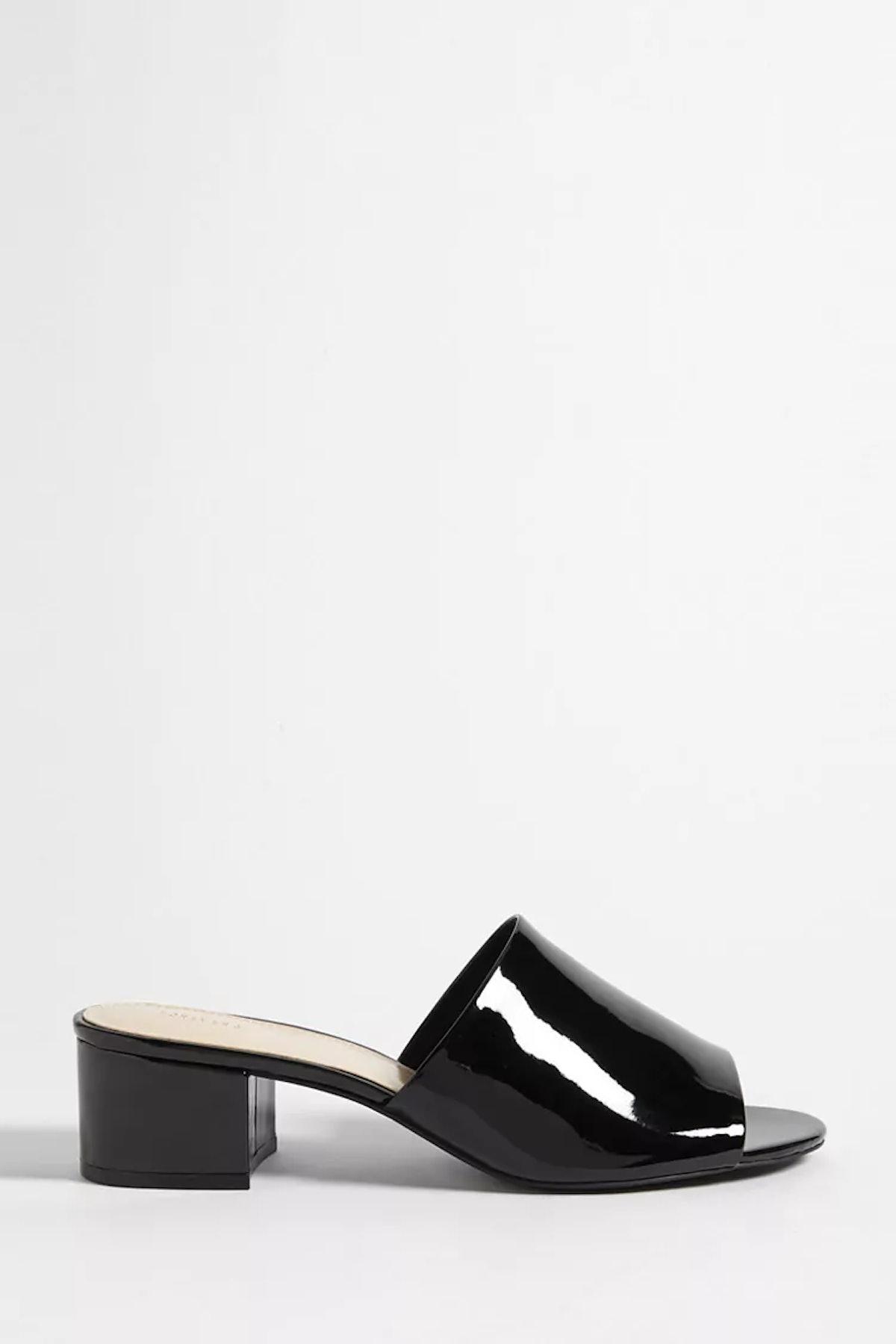 Faux Patent Leather Slide Sandals