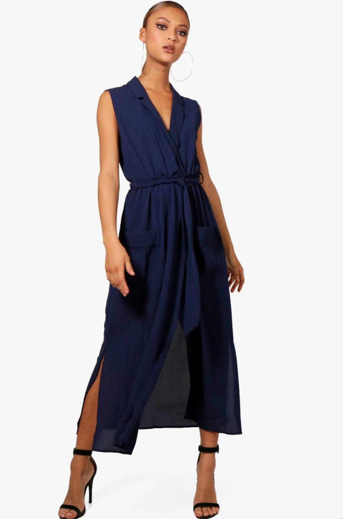 Paige Sleeveless Belted Midi Shirt Dress in Navy