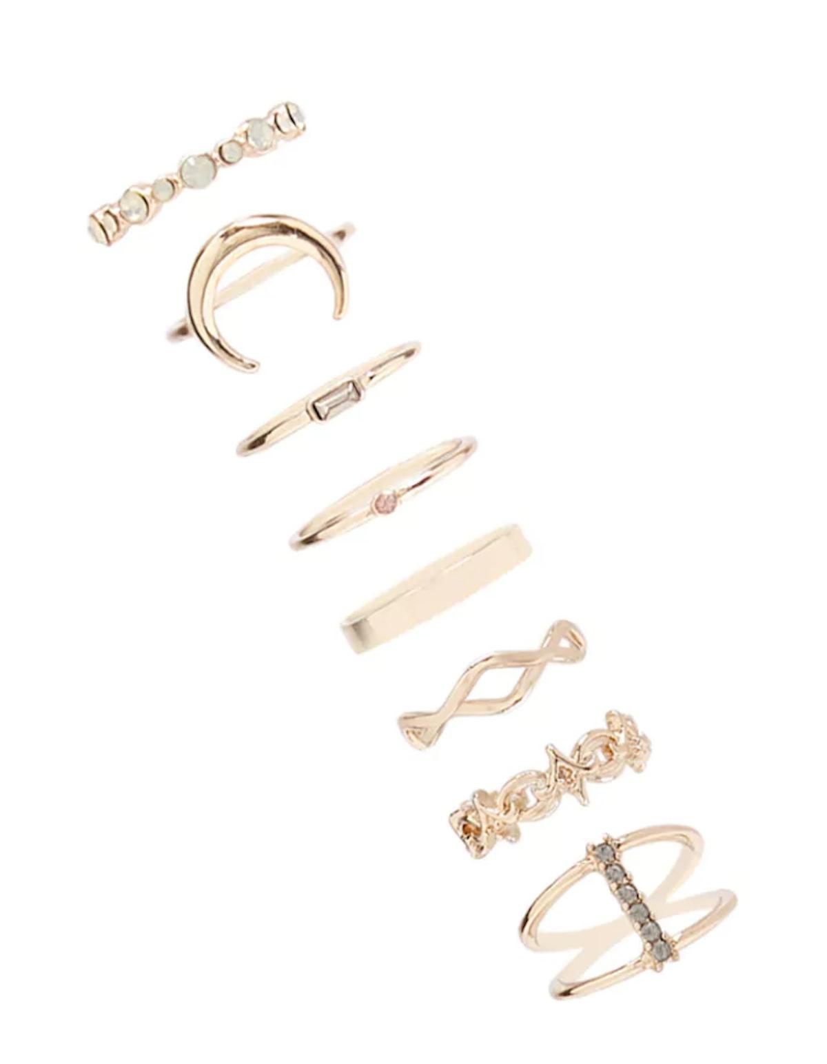 Rhinestone Stackable Ring Set